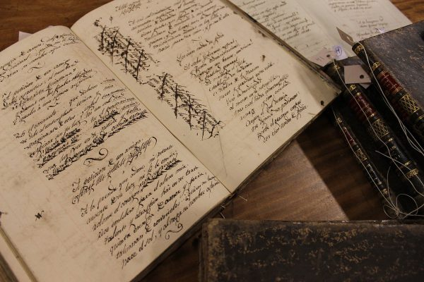 libros con letra manuscrita por Francisco Acuña de Figueroa